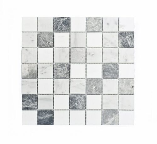 11STM020 Carrara and Crystal White with Antique 2×2 Honed Marble Mosaics
