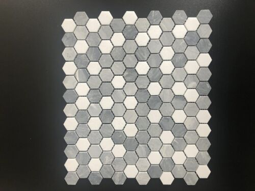 32STM030 Bardiglio Gray and Dolomite Mix Honed 1 Inch Hexagon Marble Mosaics 1 1
