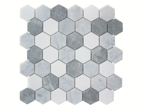 42STM020 Carrara and Crystal White with Antique Marble Hexagon Mosaics