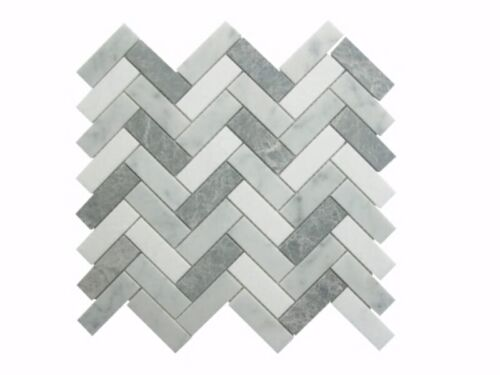 55STM020 Carrara and Crystal White with Antique Marble Herringbone Mosaics