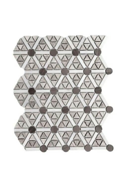 69STM010 Escarpment Light and Dark Wite White Marble Harlequin Mosaics 1