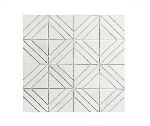 71STM036 Ariston White Concentric Squares Polished Marble Mosaics