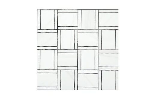 72STM036 Polished Dashes and Lines Rectangular Weave Marble Mosaics