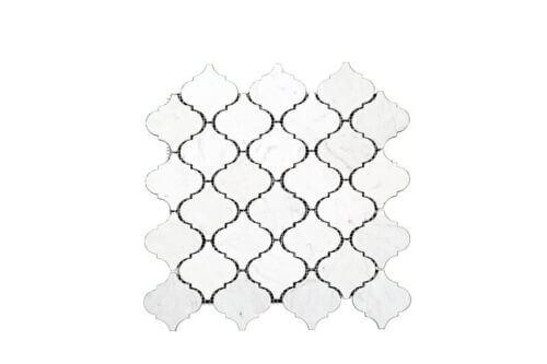 84STM032 Polished Carrara White Marble Arabesque Mosaics