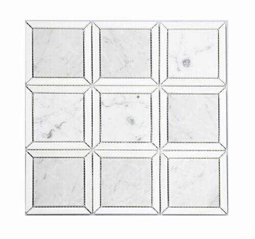91STM032 Polished Framed Cube with Light Carrara and Ariston White Mosaics 1