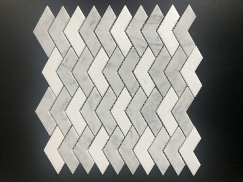 92STM032 Honed Packed Chevrons In Dolomite and Carrara Mix Marble Mosaics