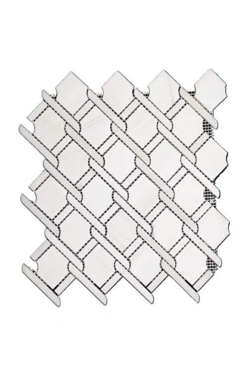 95STM036 Polished Knots Weave in Oriental Gray Marble Mosaics 1 1