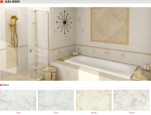 Alba Series – Wall Tiles – Gloss Finish – Colors: Grey, Blue, Beige, Taupe – Size: 10″ x 8″
