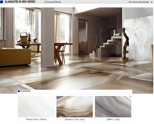 ALABASTRI DI REX SERIES Polished Porcelain Tiles Color Madrea Perla White Bamboo Tan Grey Zaffiro Grey Size 24x24 1 1