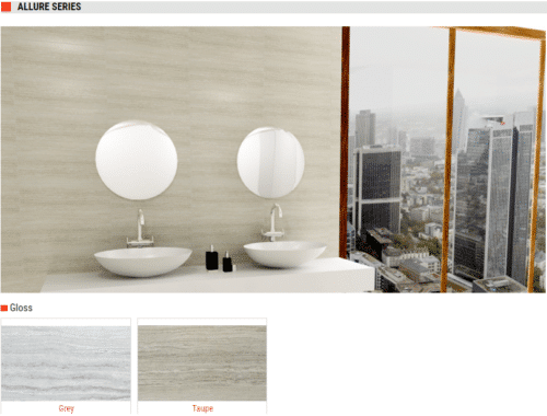 Allure Series Gloss Ceramic Tiles – Colors: Grey and Taupe – Size: 8×20
