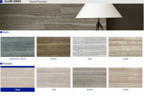 Allure Series Matte and Polished Glazed Porcelain Tile – Color: Anthracite, Bone, Brown Grey, Smoke, Taupe – Size: 12 x 24