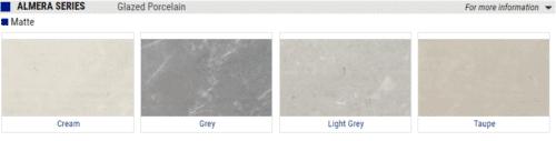 Almera Matte Glazed Porcelain Tile – Color: Cream, Grey, Light Grey, Taupe – Size: 12×24