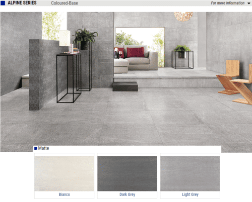 Alpine Series Matte Porcelain Tiles Color Bianco White Dark Grey Light Grey Size 18x36 24x24 1 1