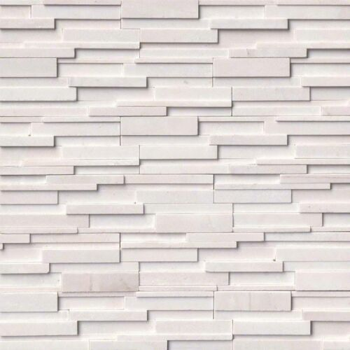 Arctic White 3D Honed Stacked Stone Panels Ledgerstone