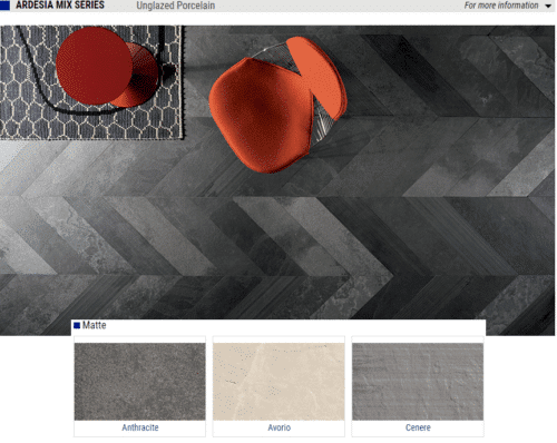 Ardesia Mix Series Matte Porcelain Tiles Color Anthracite Avorio Cenere Size 15x30 7x23 1 1