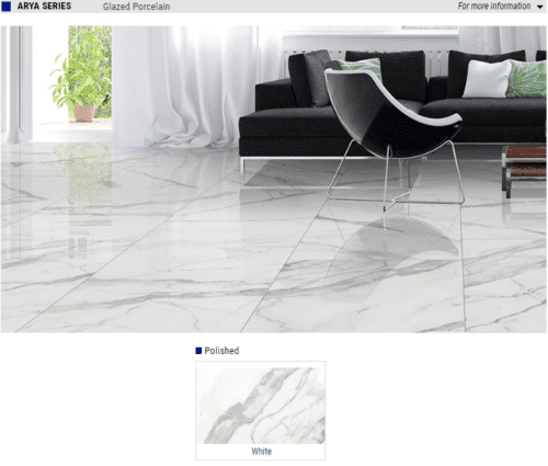 Arya Series Polished Glazed Porcelain Tile Color White Size 12x24 24x24 24x48 1 1