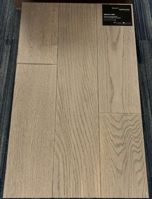 Ashphalt Grey Brand Surfaces Oak Handscraped Wire Brush Engineered Flooring