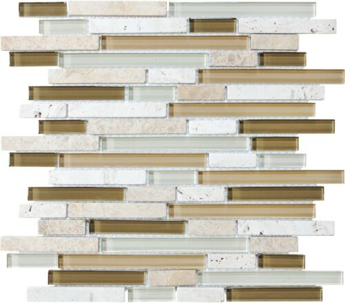 BAMBOO 35 011 BLISS GLASS AND STONE LINEAR BLEND MOSAICS