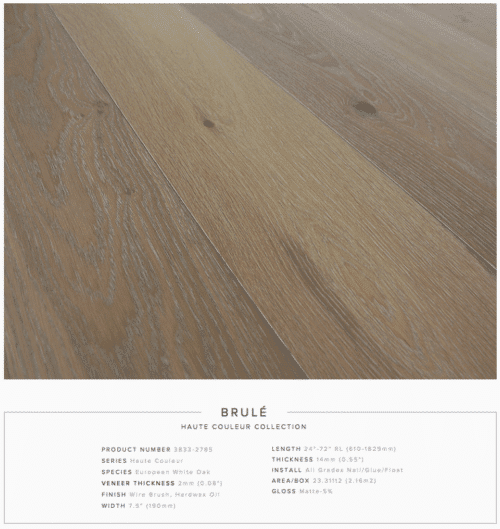 Brule Pravada Haute Couleur Collection European White Oak Engineered Floors