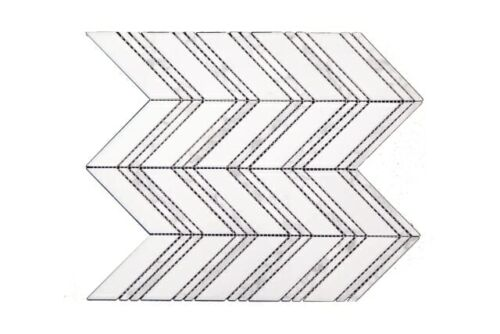 CH01 White with Double Band Chevron Marble Mosaics