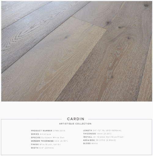 Cardin Pravada Artistique Collection Oak Engineered Hardwood Floors 1