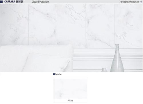 Carrara Series Matte Glazed Porcelain Tile Color White Size 13x13 1 1