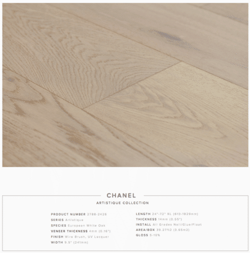 Chanel Pravada Artistique Collection Oak Engineered Hardwood Floors 1
