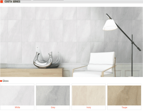 Costa Series Gloss Ceramic Wall Tile White Grey Ivory Taupe 10 x 16 1