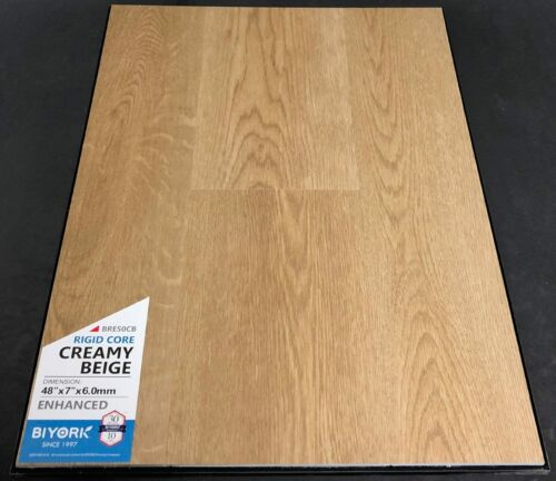 Creamy Beige Biyork 6mm SPC Vinyl Plank Flooring Rigid Core – Enhanced