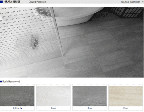 Grata Series Glazed Porcelain Tiles – Color Anthracite, Bone, Grey, Krem – Size 12×24