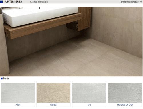Jupiter Series Matte Glazed Porcelain Tiles – Color: Pearl, Natural, Gris, Marengo DK Grey – Size: 12×24