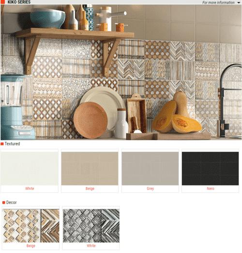 Kiko Series Textured Wall Tiles White Beige Grey Nero Black 5 x 7 1
