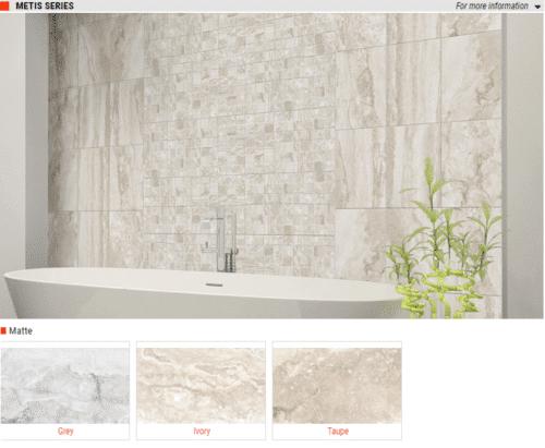 Metis Series Matte Ceramic Wall Tiles Grey Ivory Taupe 10 x 16 1