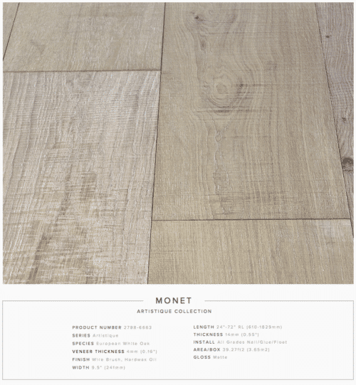 Monet Pravada Artistique Collection Oak Engineered Hardwood Floors 1
