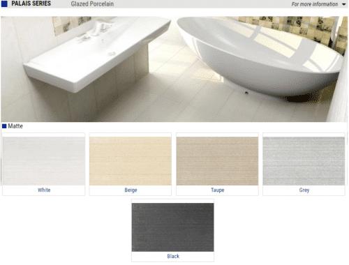 Palais Series Matte Glazed Porcelain Tiles – Color: White, Beige, Taupe, Grey, Black – Size: 12×24