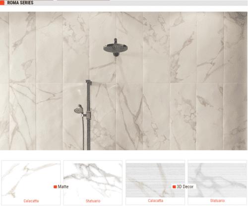 Roma Series Matte Ceramic Wall Tiles Calacatta Statuario 10 x 30 1