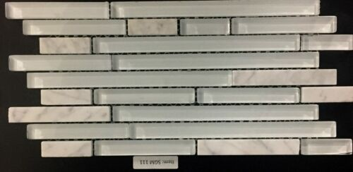 SGM 111 White Stone and Glass Mosaic Backsplash