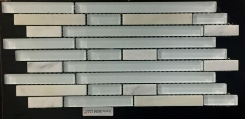 SGM 111P White Stone and Glass Mosaic Backsplash