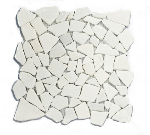 27STM002 ICY WHITE TUMBLED STONE MOSAICS