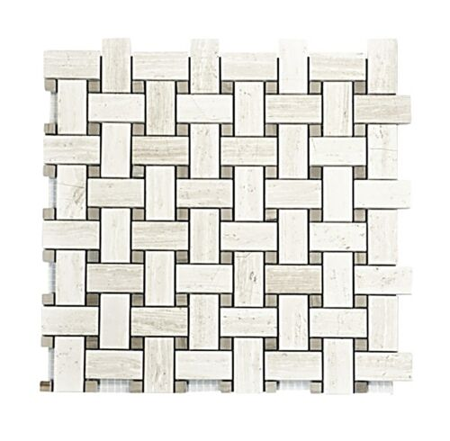 2STM016 Escarpment With Bone Gray Dots Polished Basketweave Marble Mosaics 1