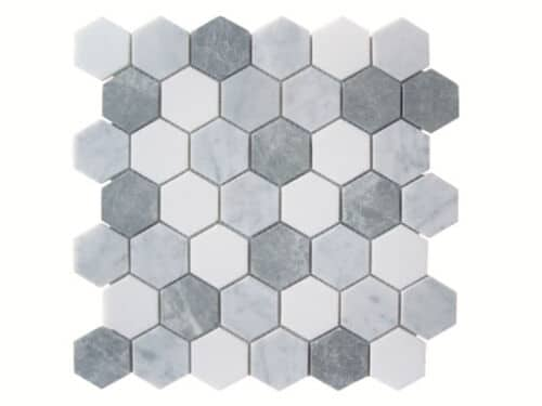 32STM002 Icy White 1 inch Hexagon Polished Marble Mosaics 1